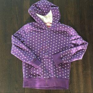 Mini Boden Lined hoodie purple stars size 13-14